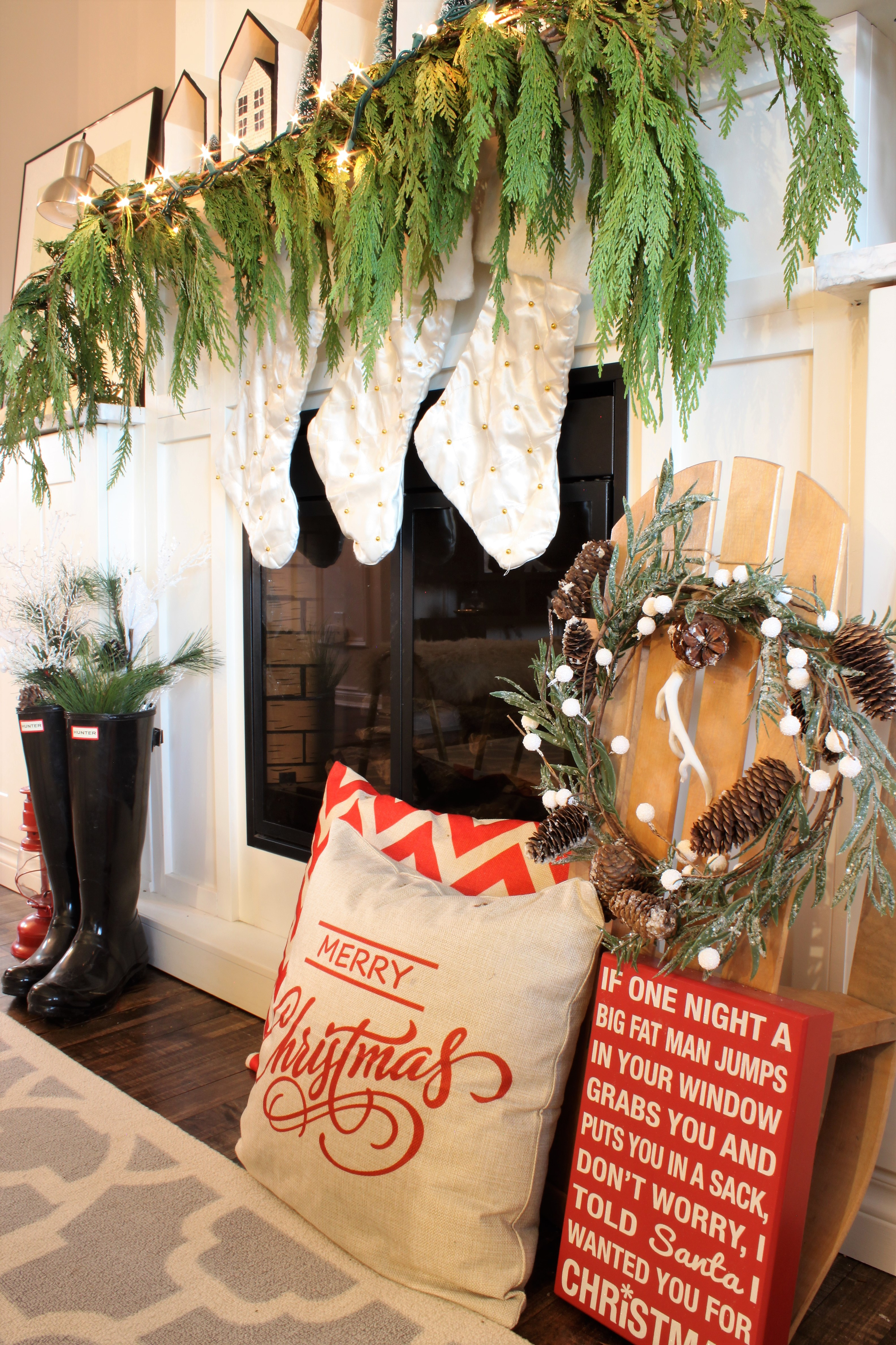 Neutral Christmas Home Tour Decor with pops of red