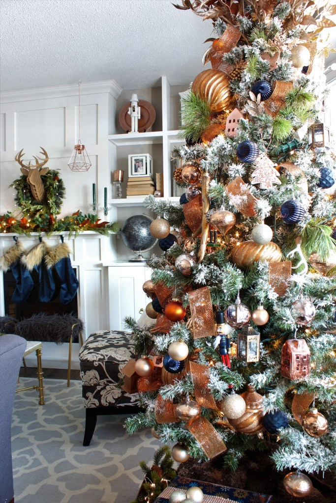 Copper and velvet Christmas Home Tour Living Room