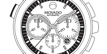 Illustration, Drawing, Line-Art, Watch, Movado, APV