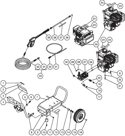 Mi-T-M Work Pro WP-2400-3MHB Cold Water Pressure Washer PARTS
