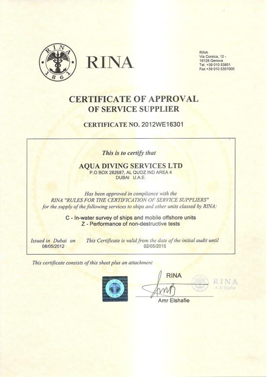 Aqua Diving Services  Certification