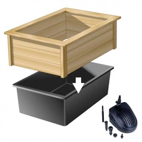 ubbink kit quadra wood 2 bassin preforme cadre en bois pompe a eau 475 litres