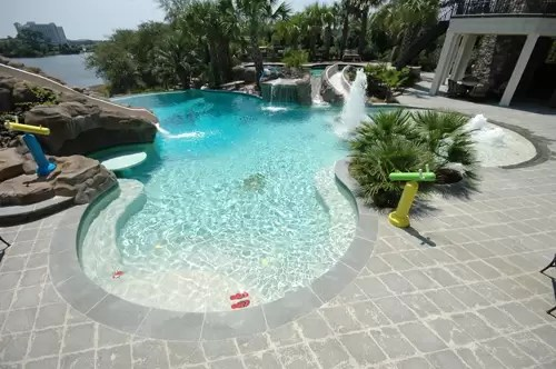 Beach Entry Swimming Pool  Aqua Blue Pools Custom