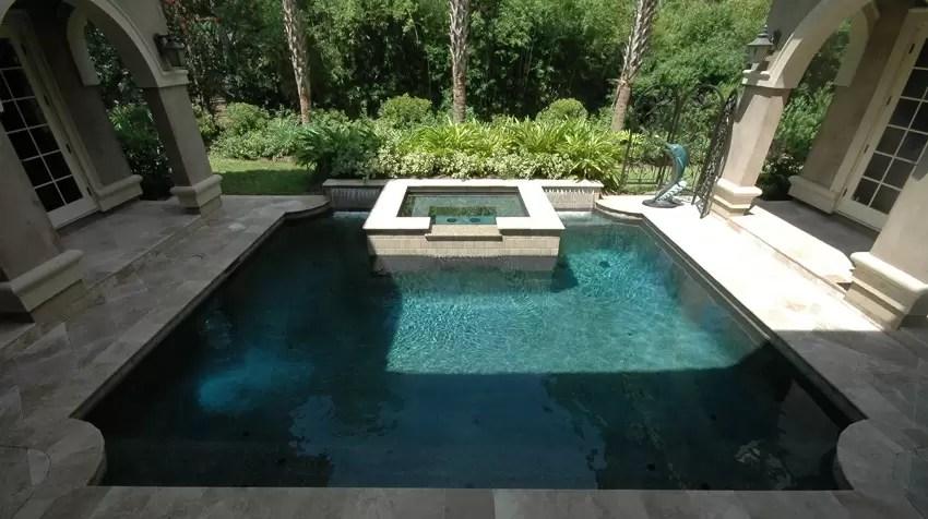 Courtyard Pool and Spa  Aqua Blue Pools Custom Pools