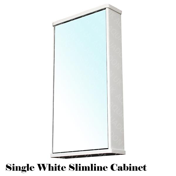 Bathroom Wall Mirror Storage Cabinet Slimline Gloss White