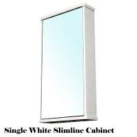 Bathroom Wall Mirror Storage Cabinet Slimline Gloss White ...
