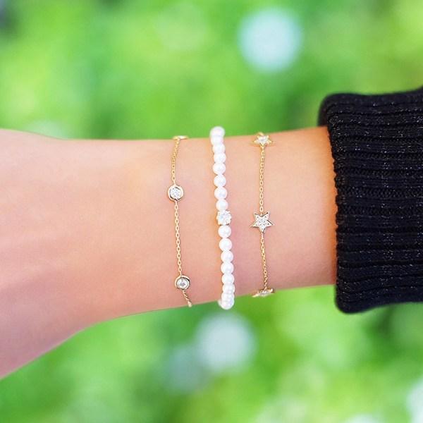 Bracelet Pearls Diamond Cluster