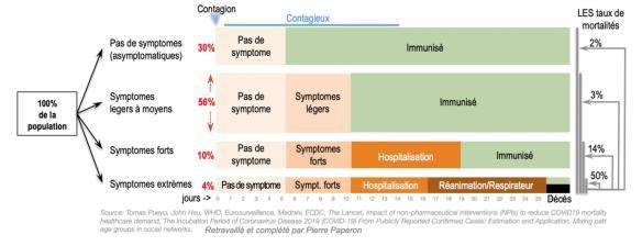 Les probabilités entre symptômes et asymptomatiques