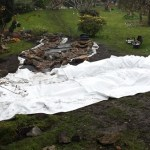 Wildlife pond: Underlay to protect the flexible pond liner