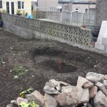 Garden pond ready to be under-layed in Bristol