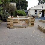 School pond raised timber walls complete