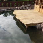 Deck reflects in the pond