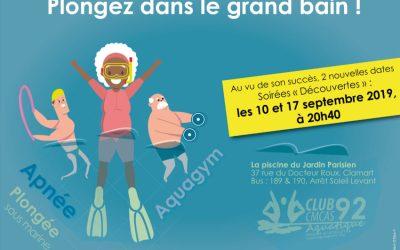 Soirées «Découverte des activités aquatiques» 10 et 17 septembre 2019 à la piscine de Clamart – Invitez vos amis ?