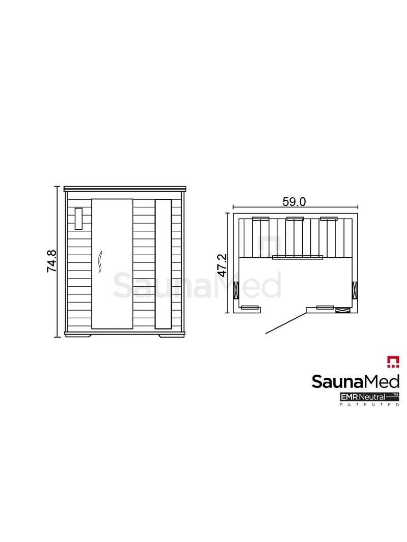 SaunaMed Infrared Saunas 3 Person Luxury Cedar FAR