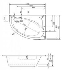 Badewanne-Acryl   wanne rechte version   130cm Wannen