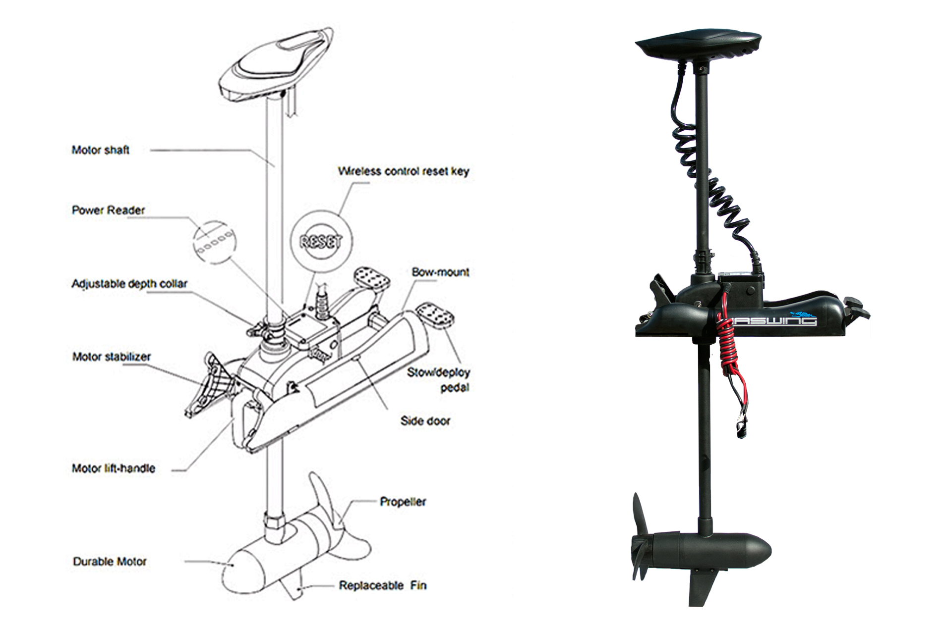 hight resolution of trolling motor 80 lbs 24 volts transom mount