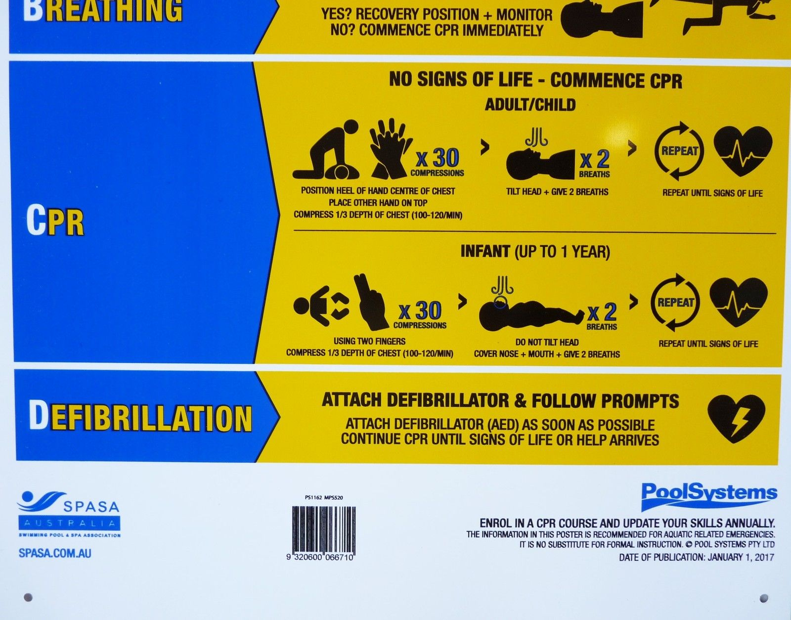 CPR Pool Sign 2019 updated DRSABCD PVC Swimming Pool Safety Sign - Aussie Gold 9320600066710   eBay