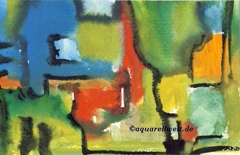 Moderne Aquarelle  abstrakte Kunstwerke  Rundgang von Birgit Busch