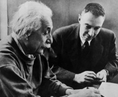 Physicists Albert Einstein and Robert Oppenheimer