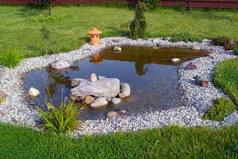 outdoor pond with pond liner
