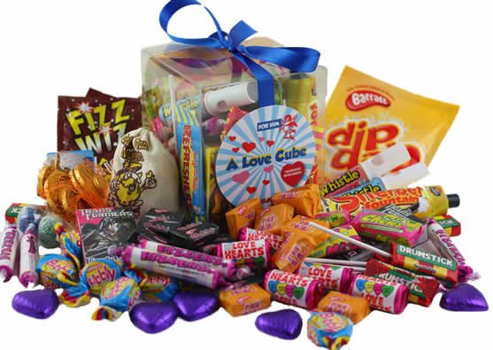 ALove Cube Packed With Retro Sweets For Him