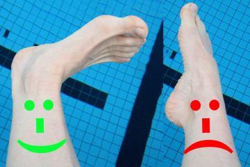 Links is de voet in dorsiflexie, rechts in plantairflexie. Bij Aquarunning moeten je voeten in dorsiflexie. Bij borstcrawl in plantairflexie.