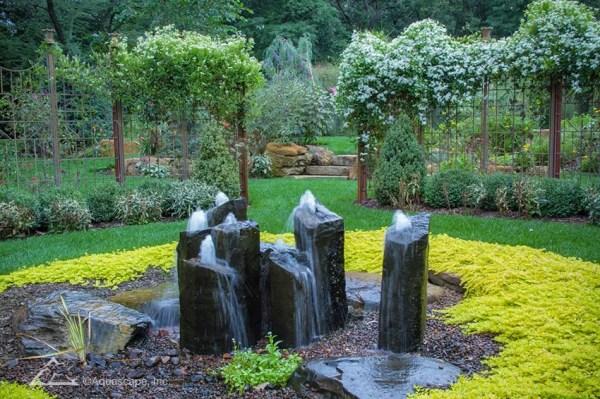 backyard waterfall and patio fountain