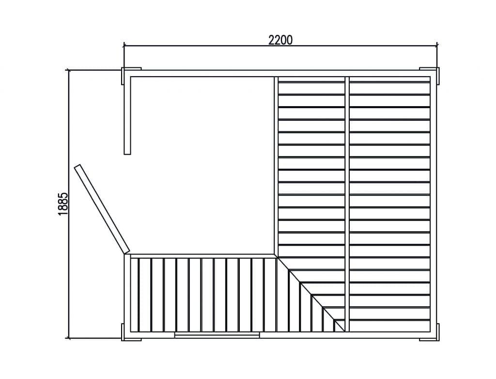 Mini Cabin Sauna Floorplan