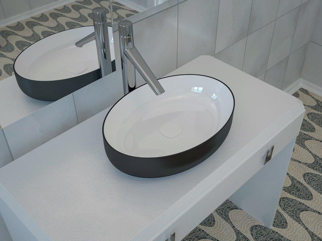 Aquatica Metamorfosi BlackWhite Oval Ceramic Bathroom
