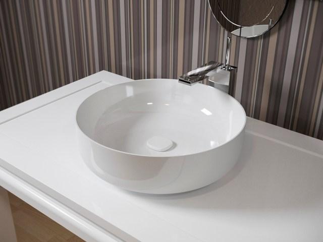 Aquatica Metamorfosi Wht Round Ceramic Bathroom Vessel Sink