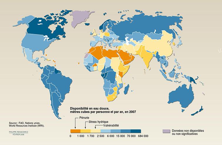 Disponibilité de l'eau potable dans le monde
