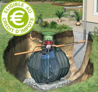 système récupération d'eau de pluie éligible au crédit d'impôt