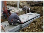 Installation d'une cuve en béton