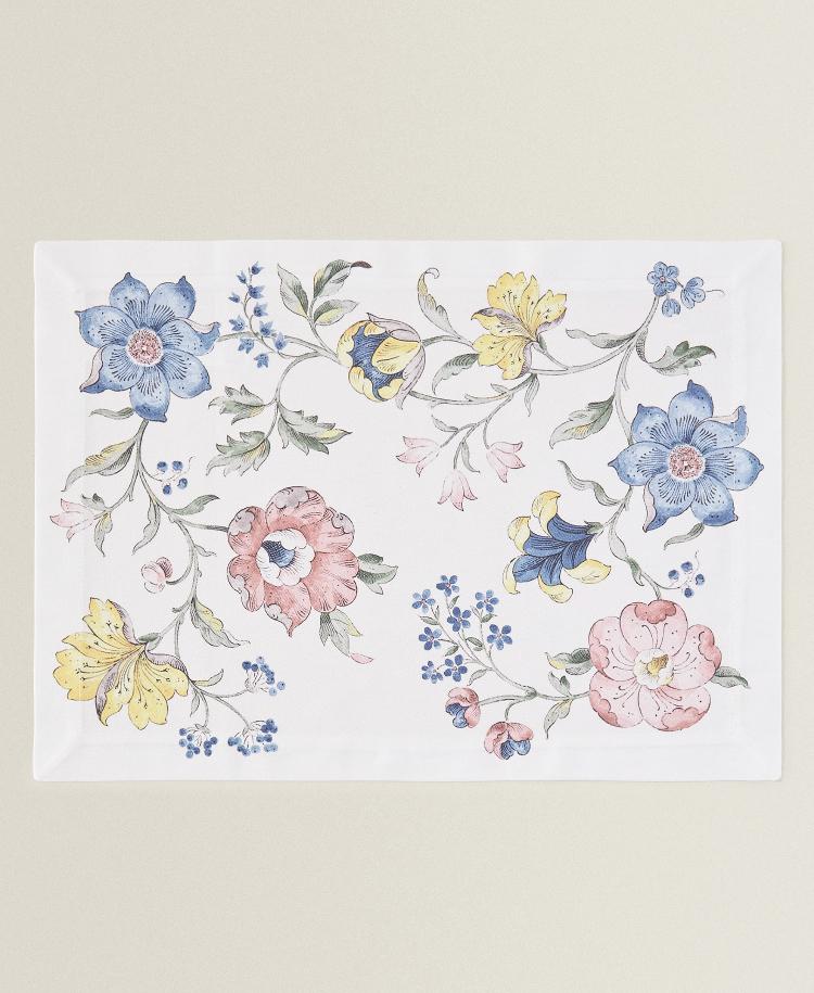 Individual Algodón Flor Dibujo de Zara Home