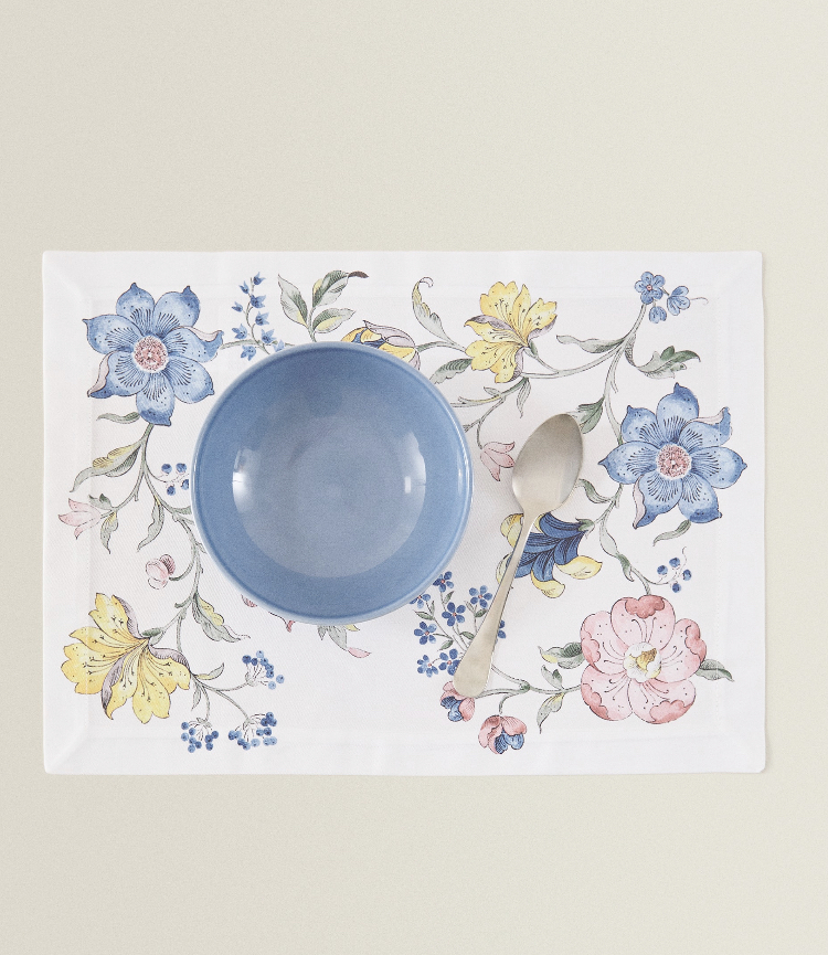 Individual Algodón Dibujo Flores de Zara Home