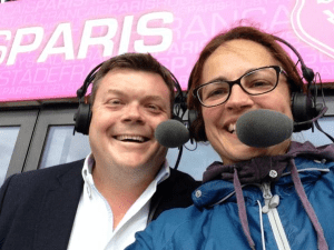 Sue Day and Johnny Hammond commentating on Rugby Match