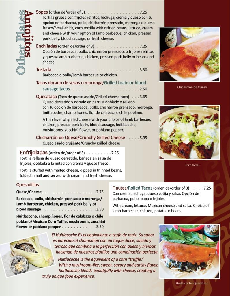 Texcoco Menu Page 3