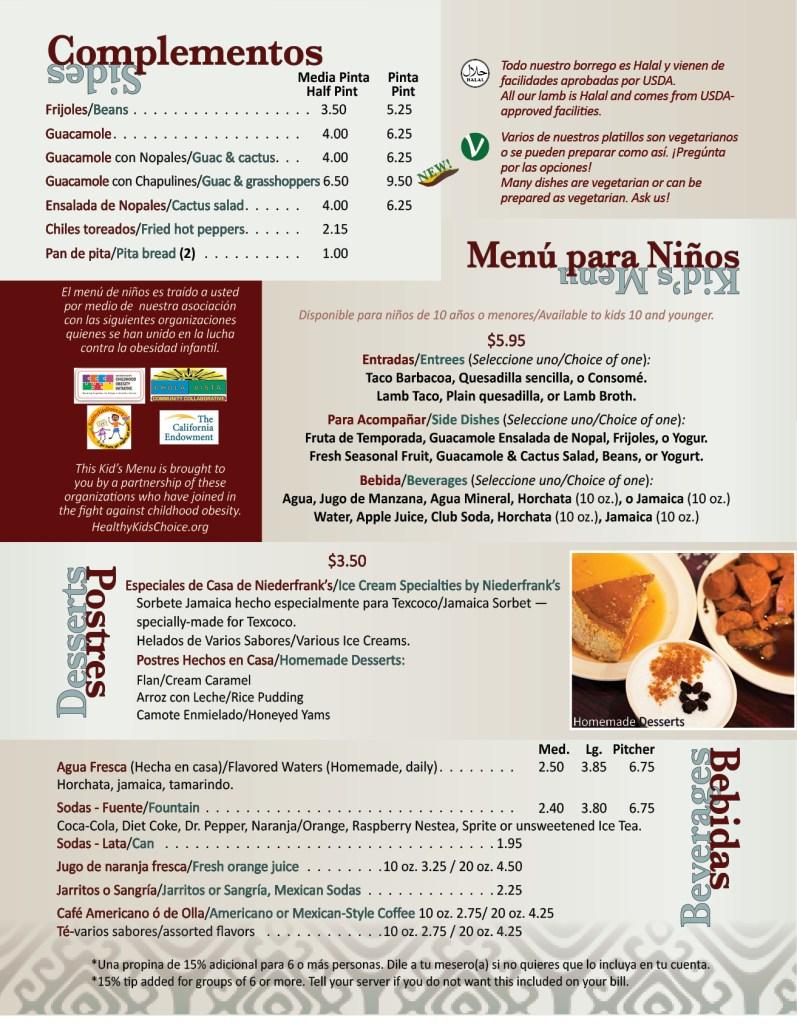 Texcoco Menu Page 4