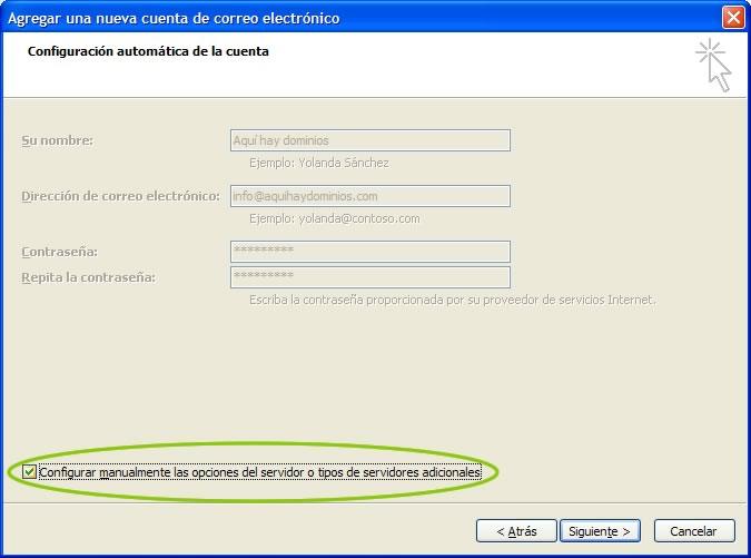 Configurar manualmente las opciones del servidor o tipos de servidores adicionales