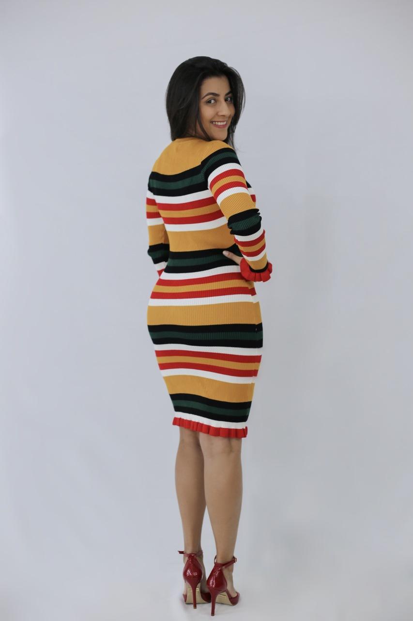 570d97530b30 Vestido Tricot Listrado Iandra em Áquila Tauheny Store | Moda Evangélica