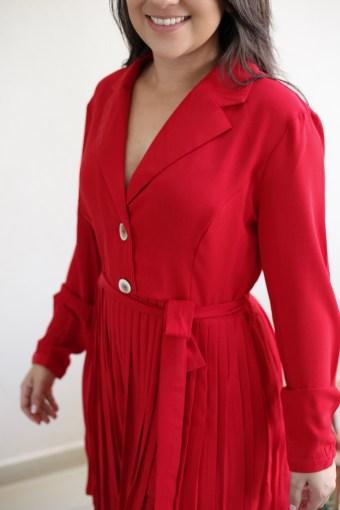 Vestido Plissado Vermelho em Áquila Tauheny Store   Moda Evangélica