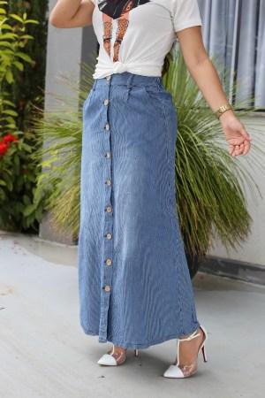 Saia Jeans Longa Listrada