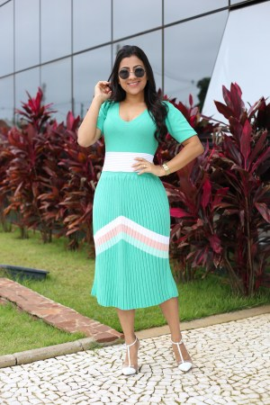 Vestido Tricot Plissado Verde