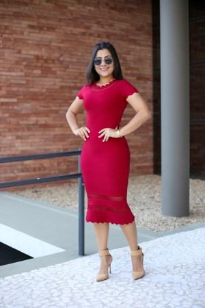 Vestido Bandagem Bordô/Vermelho em Áquila Tauheny Store | Moda Evangélica