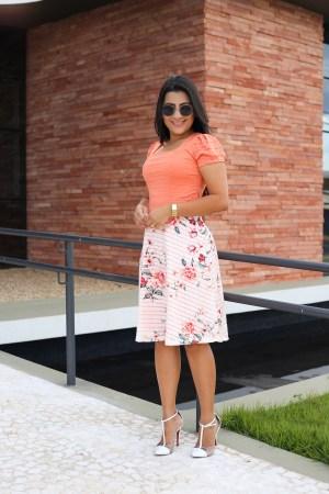 Vestido Coral Godê Maria Amore