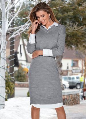 Vestido Tricot Cinza