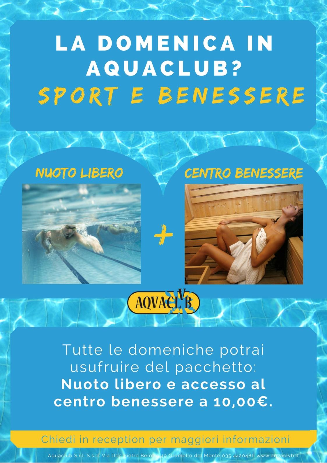 Promozione domenica nuoto libero e area benessere