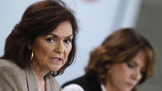 Carmen Calvo, en roda de premsa posterior al Consell de Ministres, en una imatge d'arxiu / EFE