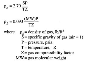 density of gas