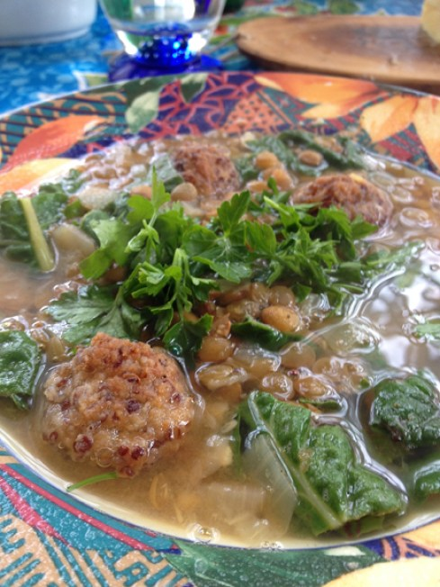 Mediterranean Cooking from the Garden with Linda Dalal Sawaya—hearty Lebanese mountain lentil soup